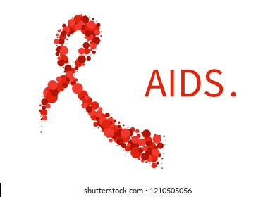 AIDS awareness poster. Red ribbon made of dots on white background. Symbol of acquired immune deficiency syndrome. Medical concept. Vector illustration.