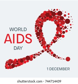 AIDS awareness poster. World AIDS Day symbol. Red ribbon made of dots on white background. Symbol of acquired immune deficiency syndrome. Medical concept. Vector illustration.