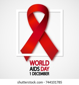Aids awareness red ribbon with rectangle frame. World Aids Day concept. Vector Illustration