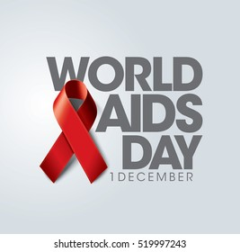 Aids Awareness Red Ribbon. World Aids Day concept. Vector EPS Illustration