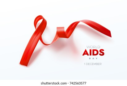 Aids Awareness Red Ribbon. World Aids Day vector Illustration.