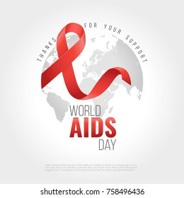 Aids awareness ribbon background. World aids day. 1 December