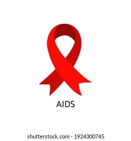 AIDS awareness symbol. Red ribbon. Vector illustration.