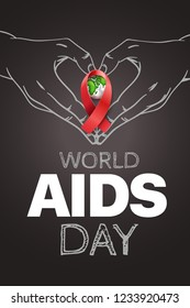 Aids awareness symbol. World Aids day concept with red ribbon
