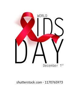 Aids Awareness. World Aids Day concept. Red Ribbon. Vector illustration EPS10