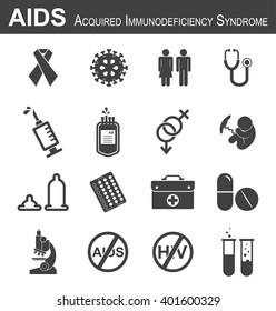 AIDS icon( red ribbon,HIV virus,man,woman,stethoscope,syringe,needle,blood bag, male , female , fetal ,condom, birth control or contraception pills ,medical bag, antiviral drug,microscope, test tube )
