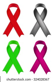 Aids red ribbon, breast cancer awarenes ribbon