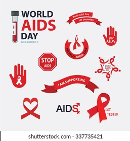 AIDS , vector badges collection for world day