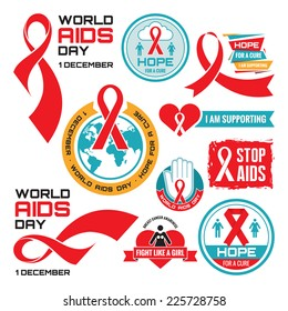 AIDS - vector badges. Logo icons set. Stop signs set. Red ribbons. World day 1 December. HIV & STI. Acquired Immune Deficiency Syndrome symbols collection.