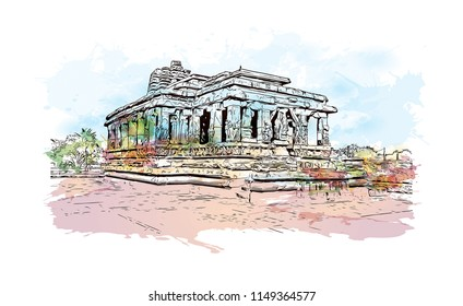 Aihole, is a historic site of ancient and medieval era Buddhist, Hindu and Jain monuments in north Karnataka, India. Watercolor splash with Hand drawn sketch illustration in vector.