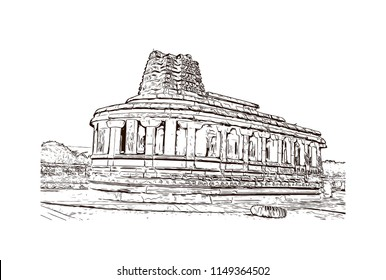 Aihole, also referred to as Aivalli, Ahivolal, is a historic site of ancient and medieval era Buddhist, Hindu and Jain monuments in north Karnataka, India. Hand drawn sketch illustration in vector.