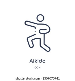 aikido icon from sport outline collection. Thin line aikido icon isolated on white background.