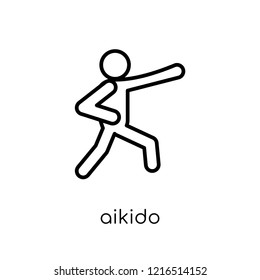aikido icon. Trendy modern flat linear vector aikido icon on white background from thin line sport collection, editable outline stroke vector illustration