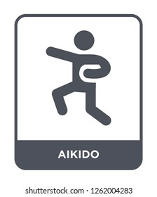 aikido icon vector on white background, aikido trendy filled icons from Sport collection, aikido simple element illustration