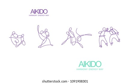 Aikido. Line art. Drawing fighters with one line.