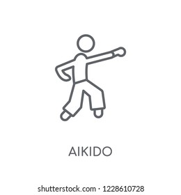 aikido linear icon. Modern outline aikido logo concept on white background from Sport collection. Suitable for use on web apps, mobile apps and print media.