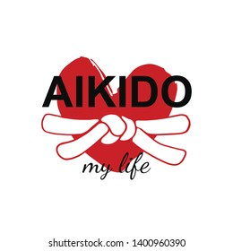 Aikido my life - vector stylized font with white belt  knot of japanese budo martial arts on white background with red ink heart stamp - hanko. Hand drawn asian sport calligraphy logo, icon, sign