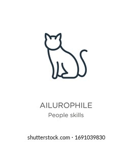 Ailurophile icon. Thin linear ailurophile outline icon isolated on white background from people skills collection. Line vector sign, symbol for web and mobile