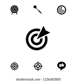 Aim icon. collection of 7 aim filled icons such as radar, target, dart, sniper target. editable aim icons for web and mobile.