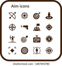 aim icon set. 16 filled aim icons.  Simple modern icons about  - Archery, Target, Water gun, Goal, Radar, Focus, Dartboard