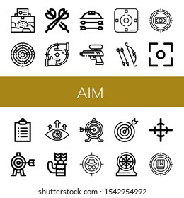 aim icon set. Collection of Radar, Dart, Darts, Focus, Bow and arrow, Water gun, Archer, Target, Goals, Quiver, Center of gravity icons