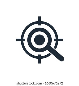 Aim and magnifying glass.  Study the target, the problem. Vector icon isolated on white background.
