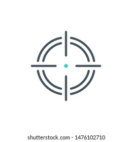 aim right on target outline flat icon. Single high quality outline logo symbol for web design or mobile app. Thin line sign design logo. Black and blue icon pictogram isolated on white background