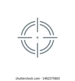 aim right on target outline flat icon. Single high quality outline logo symbol for web design or mobile app. Thin line sign design logo. gray icon pictogram isolated on white background