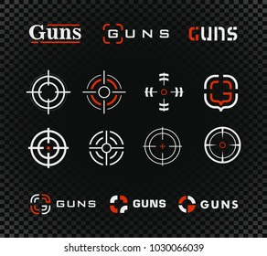 Aim, sight outline icon collection. Shooting range vector logo template and icon collection. Guns or other weapon rifle sight sign set on black transparent background.