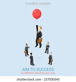 Aim to success flat 3d web isometric infographic business concept vector template. Businessman fly up away high on balloon. Creative people collection.
