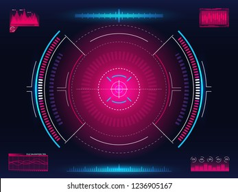 Aim system. Modern aiming concept. Futuristic HUD interface with bright infographic elements. Weapon crosshair template. Game element design. Glowing target with digital data. Vector illustration.