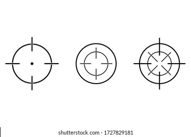 Aim or target cross symbol in circle. Illustration of weapon sign of sniper or sharpshooter. Aiming bullseye in flat design in outline style. Optical game weapon. Aim sight for hunting. Vector EPS 10