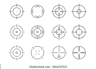 Aim, target, crosshair, sight, scope illustration. Set of linear icons. Periscope. Sniper rifle aim. Vector collection