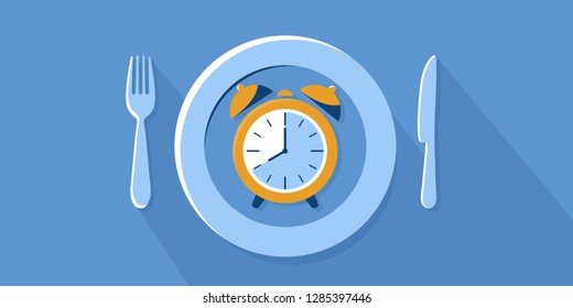 aIntermittent fasting concept, plate with clock on blue background, fork and knife