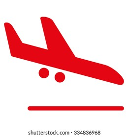 Aiplane Landing vector icon. Style is flat red symbol, rounded angles, white background.