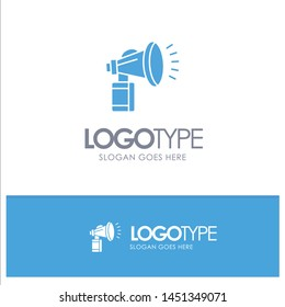 Air, Attribute, Can, Fan, Horn Blue Solid Logo with place for tagline