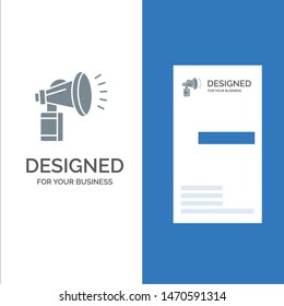 Air, Attribute, Can, Fan, Horn Grey Logo Design and Business Card Template. Vector Icon Template background
