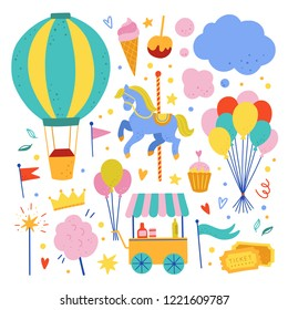 Air ballon, carousel, ice cream shop and other amusement park cute vector illustrations