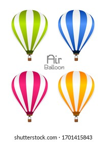 Air Balloon Colorful Vector Green Blue Red Orange - Object Design