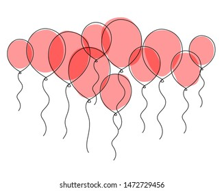 Air balloon continuous one line drawing. Abstract minimalist red balloons on white isolated background. Vector Illustration