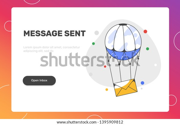 Air Balloon Envelop Mail Letter Letterbox Stock Vector