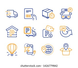 Air balloon, Flight destination and Bus parking icons simple set. Truck parking, Truck delivery and World travel signs. Delivery timer, Parcel invoice and 24 hours symbols. Package location. Vector