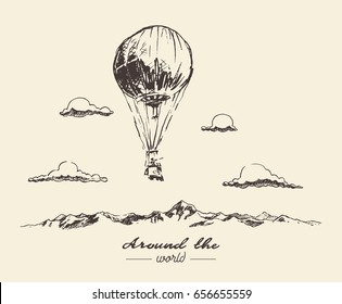 Air balloon flying over the mountains, adventures around the world, hand drawn vector illustration, sketch