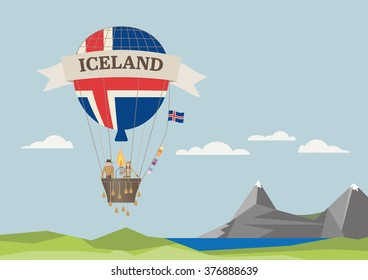 Air Balloon with Icelandic flag and people
