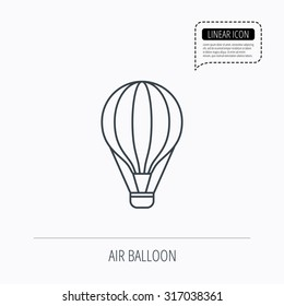 Air balloon icon. Fly transport sign. Airship travel symbol. Linear outline icon. Speech bubble of dotted line. Vector