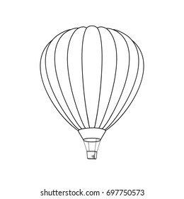 Air Balloon Icon. Vector Illustration. Line Graphic Style. Logo, Banner, Sign, Card, Travel Design for Cards, Posters, Banners, Logo. Coloring Book Page Design for Education.