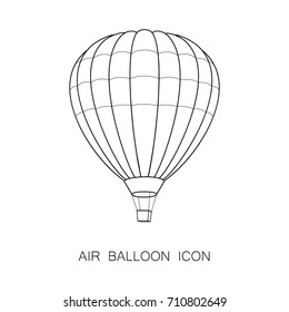 Air Balloon Icon. Vector Illustration. Line Graphic Style. Logo, Banner, Sign, Card, Travel Design. Coloring Book Page Design for Education.