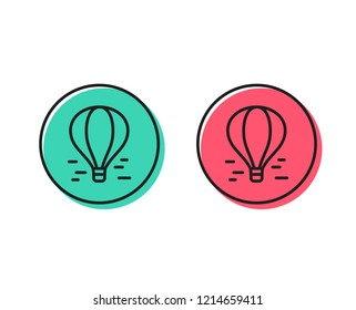 Air balloon line icon. Flight transport with basket sign. Amusement park symbol. Positive and negative circle buttons concept. Good or bad symbols. Air balloon Vector