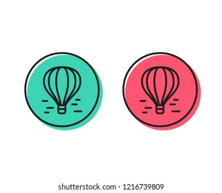 Air balloon line icon. Flight transport with basket sign. Aircraft symbol. Positive and negative circle buttons concept. Good or bad symbols. Air balloon Vector