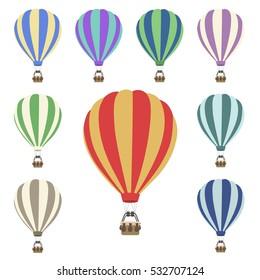 Air Balloon Set Clip Art vector illustration sketch.
